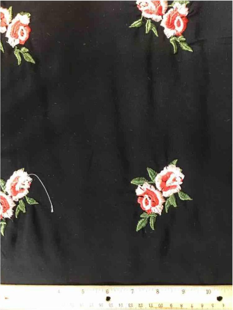 RCHEMB-090802 / 03-BLACK / 100 % Rayon Chally With Embroidery All Over