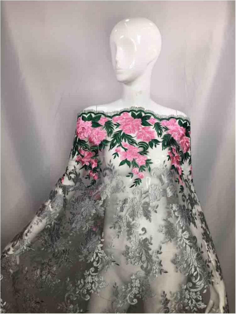NEMB-GA-1711 / 04-PINK / MESH WITH COLOR FLOWER EMBROIDERY
