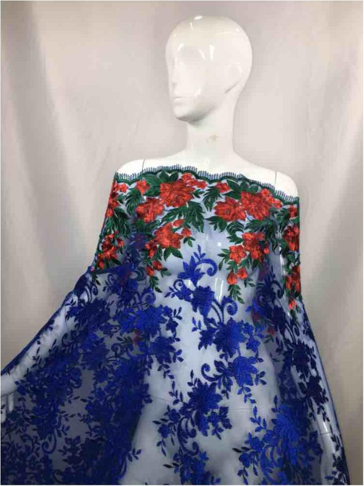 NEMB-GA-1711 / 05-RED/ROYAL BG / MESH WITH COLOR FLOWER EMBROIDERY