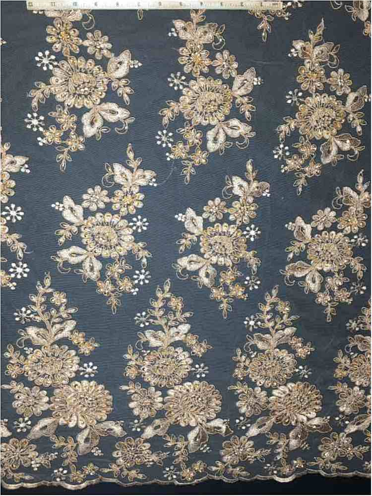 HEMB-1023D2 / 27-TAUPE / Mesh With Hand Bead Embroidery