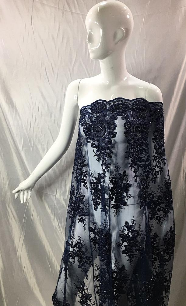 HEMB-1101D4 / 20-NAVY / MESH WITH HAND BEAD AND CORD EMBROIDERY