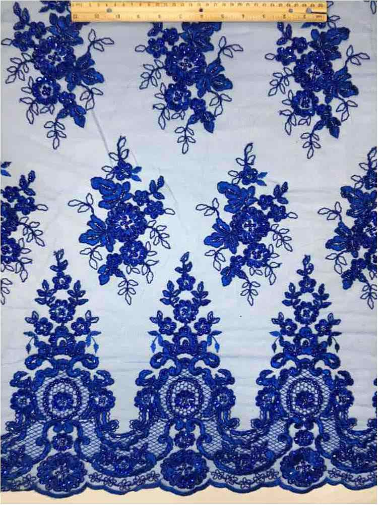 HEMB-1101D4 / 34-ROYAL / MESH WITH HAND BEAD AND CORD EMBROIDERY