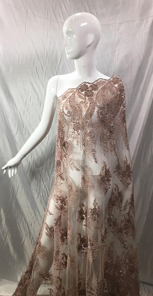 MEMB-221-1 / 04-ROSE / MESH EMBROIDERY WITH SEQUIN