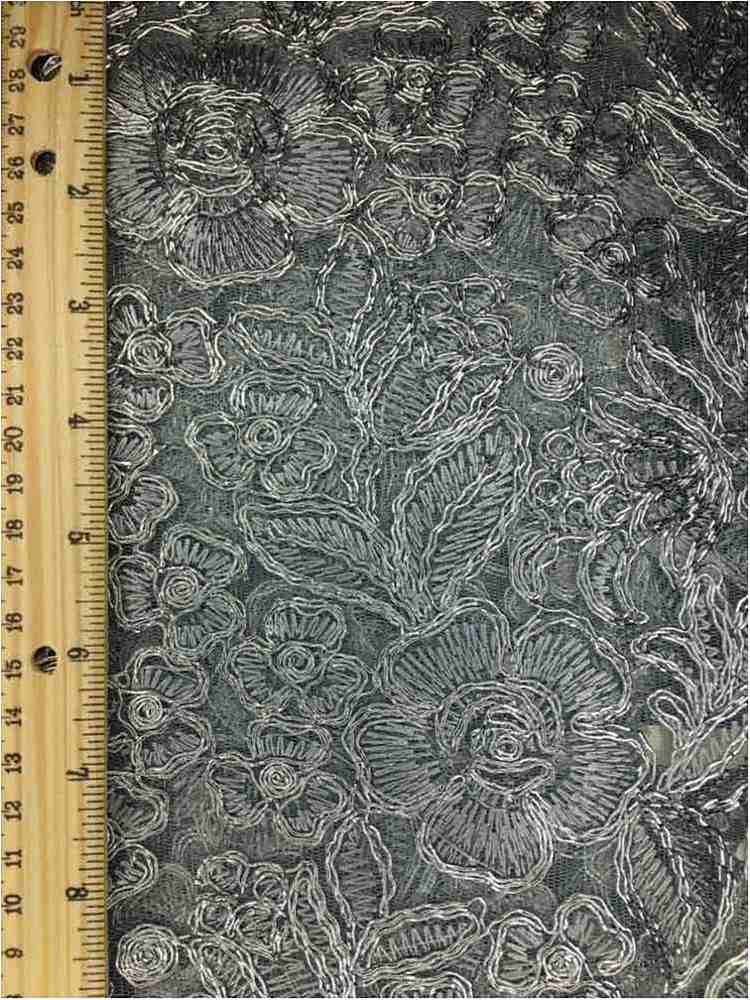 MEMB-102-6A / SILVER / MESH WITH EMBROIDERY