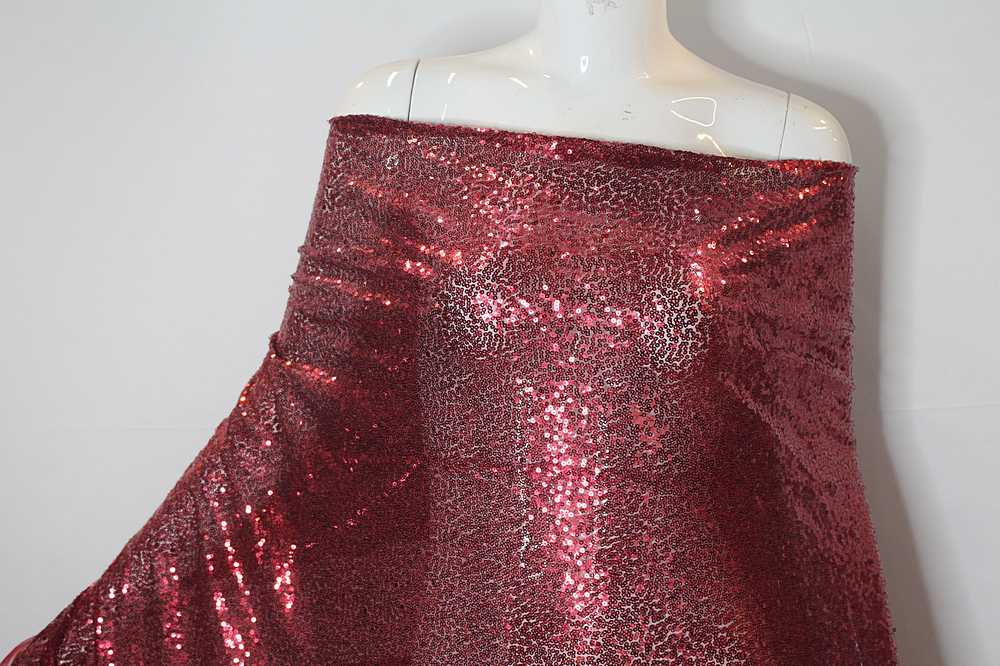 MSEQ-MINISEQ / 07-BURGUNDY / Poly Spandex Mesh With Minisequins All Over