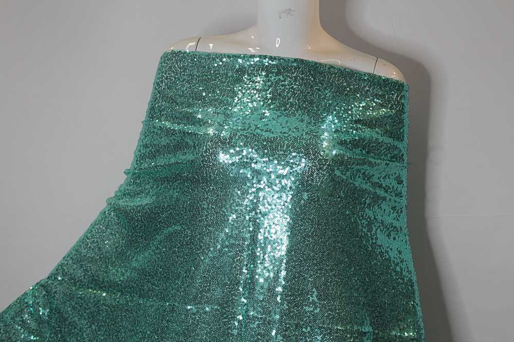 MSEQ-MINISEQ / AQUA / Poly Spandex Mesh With Minisequins All Over