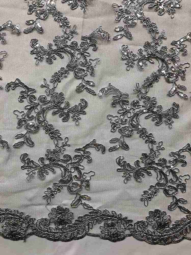 MEMB-25226 / 13-SILVER / MESH WITH EMBROIDERY W/SEQUIN METALIC CORD