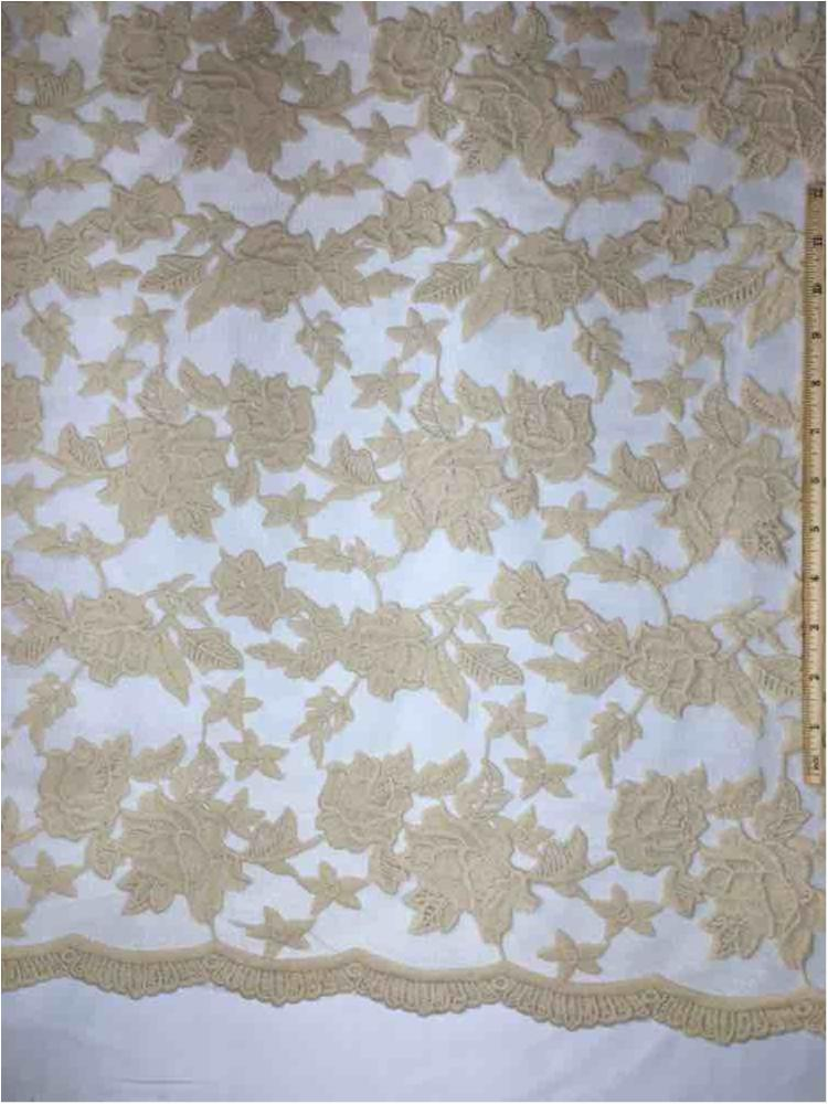 MEMB-0710D#4 / 58-CHAMPAGNE / MESH WITH MILKY YARN EMBROIDERY ALL OVER
