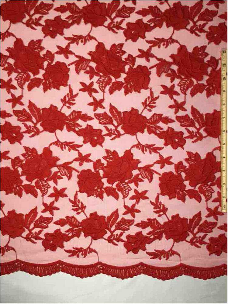 MEMB-0710D#4 / 15-RED / MESH WITH MILKY YARN EMBROIDERY ALL OVER