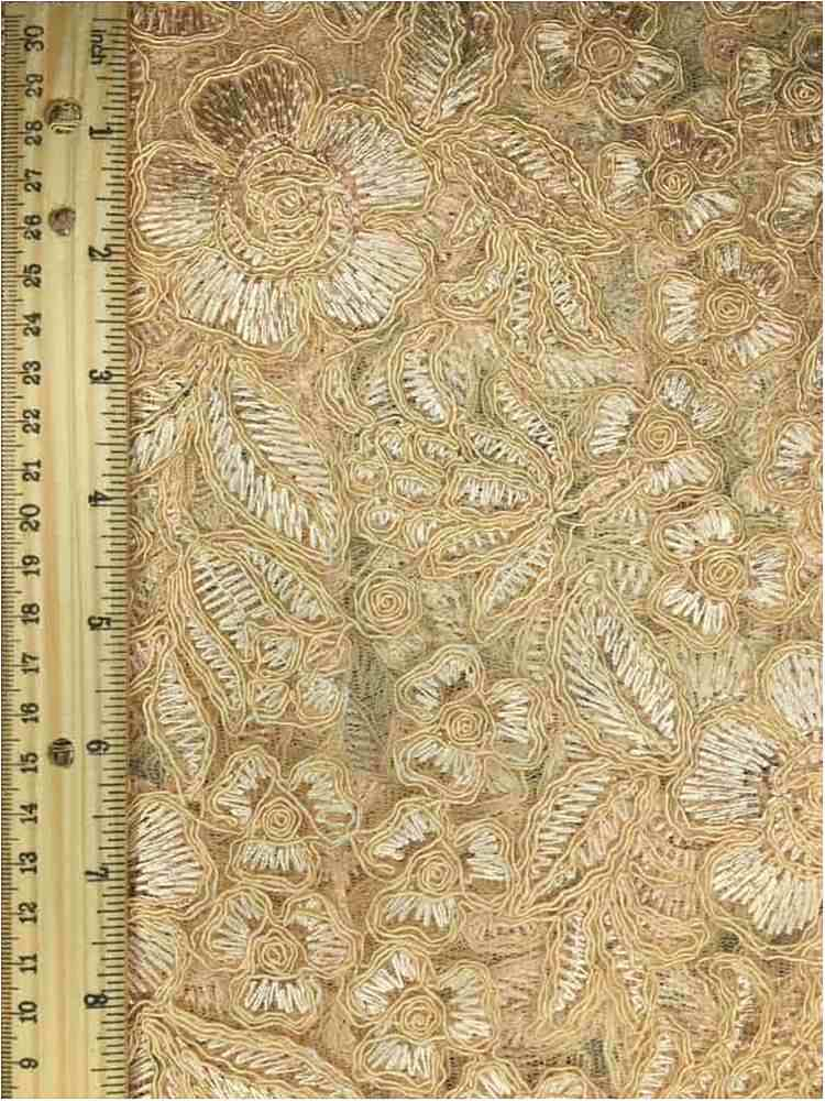 MEMB-102-6A / CHAMPANGE / MESH WITH EMBROIDERY