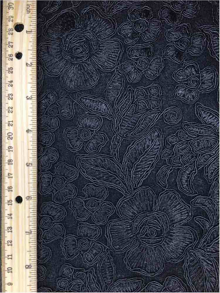 MEMB-102-6A / BLACK / MESH WITH EMBROIDERY