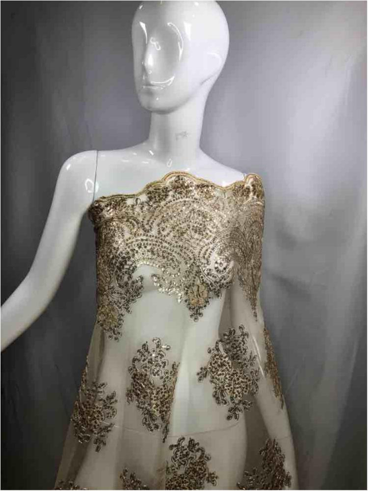 EMB-FA18-34C / CHAMPAGNE/METALIC / Mesh With Corded Embroidery With Sequins All Over