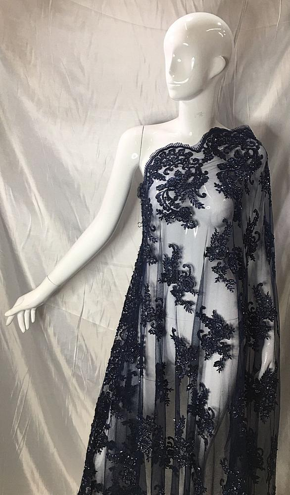HEMB-5421D2 / 08-NAVY / MESH WITH CORD EMB AND HANDBEADED ALL OVER.