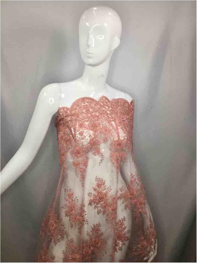 HEMB-5421D1 / 04-BLUSH / MESH WITH CORD EMB AND HADBEADED ALL OVER.