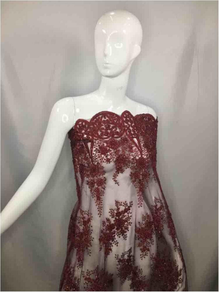 HEMB-5421D1 / 07-WINE / MESH WITH CORD EMB AND HADBEADED ALL OVER.