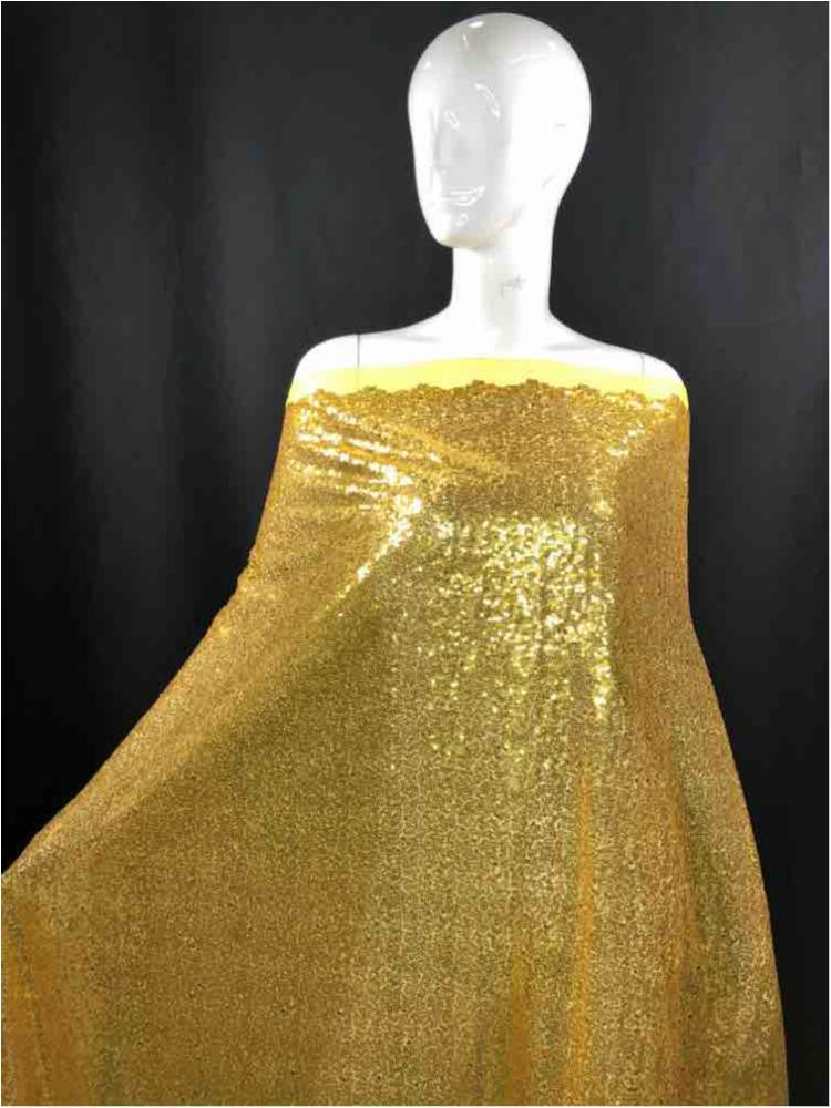 MSEQ-MINISEQ / 85-GOLD / Poly Spandex Mesh With Minisequins All Over