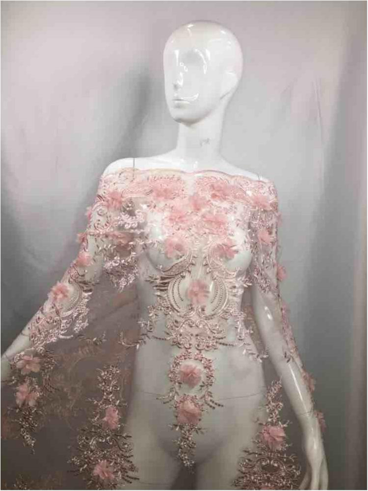 MEMB-2396 / BLUSH / MESH WITH BEADED EMBROIDERY/3D FLOWERS ALL OVER..