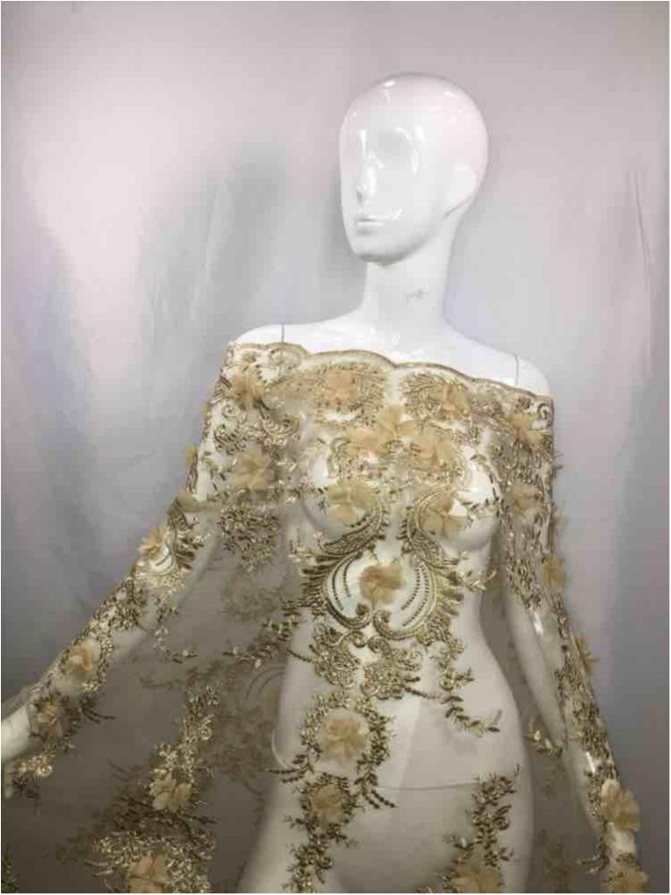MEMB-2396 / TAUPE / MESH WITH BEADED EMBROIDERY/3D FLOWERS ALL OVER..