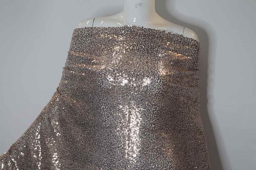 MSEQ-MINISEQ / 12N-SAND / Poly Spandex Mesh With Minisequins All Over