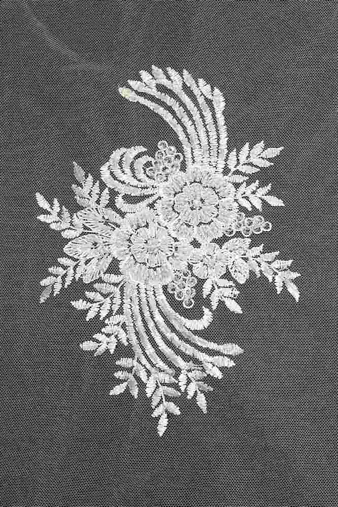 HEMB-5423D1 / 01-WHITE / HAND BEADED EMBROIDERY