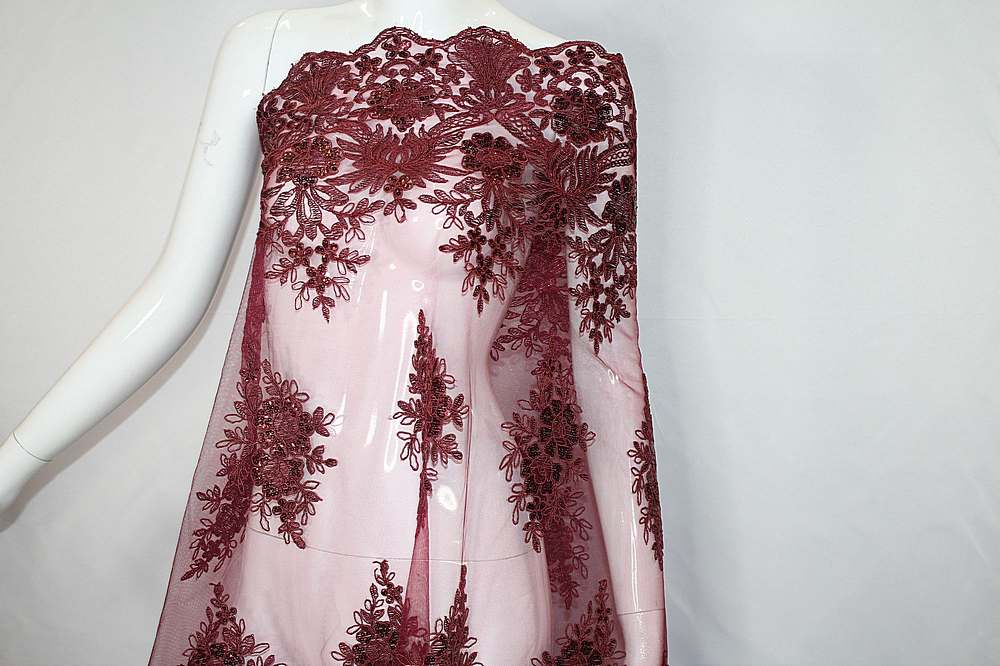 MEMB-111402 / 30.BURGUNDY / Mesh With Corded Embroidery And Sequins All Over