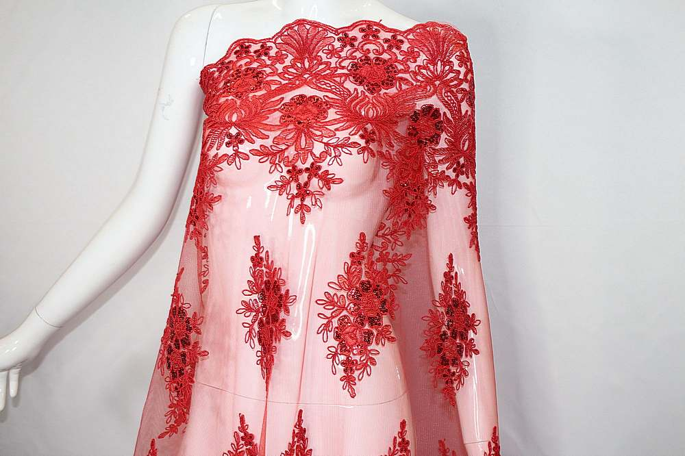 MEMB-111402 / 15.RED / Mesh With Corded Embroidery And Sequins All Over