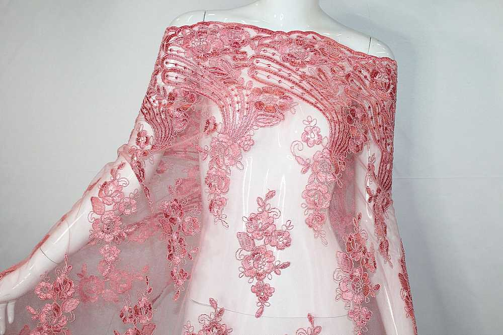 MEMB-111403 / 87.BLUSH / Mesh With Corded Embroidery