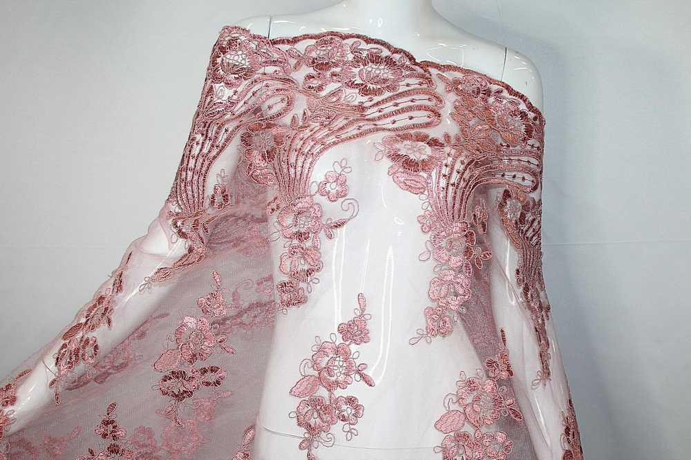 MEMB-111403 / 53.DUSTY ROSE / Mesh With Corded Embroidery