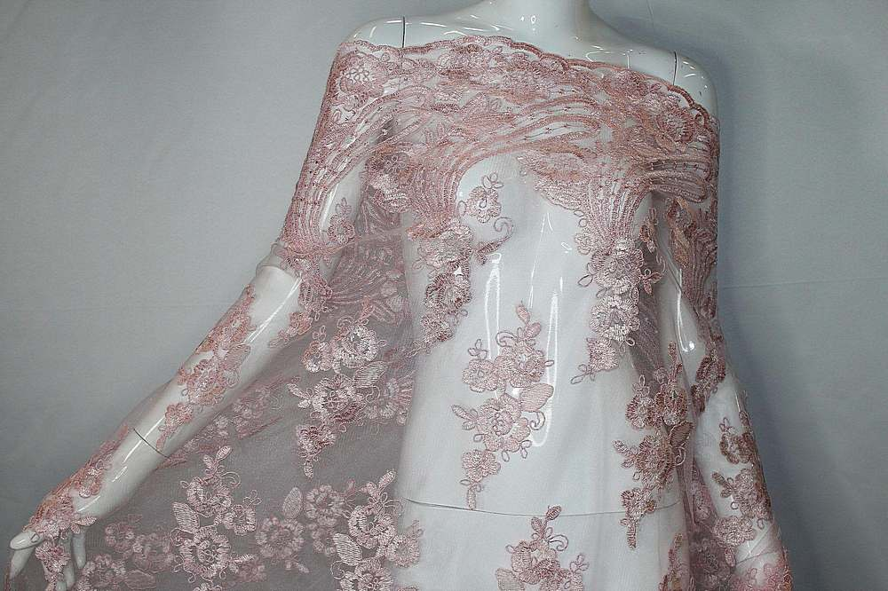 MEMB-111403 / 65.PINK / Mesh With Corded Embroidery