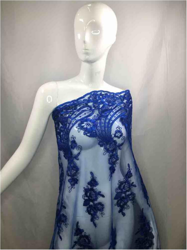 MEMB-111403 / 34.ROYAL / Mesh With Corded Embroidery