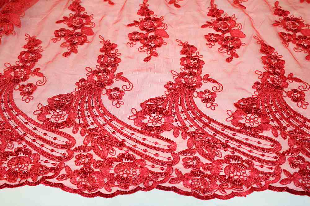 MEMB-111403 / 15.RED / Mesh With Corded Embroidery