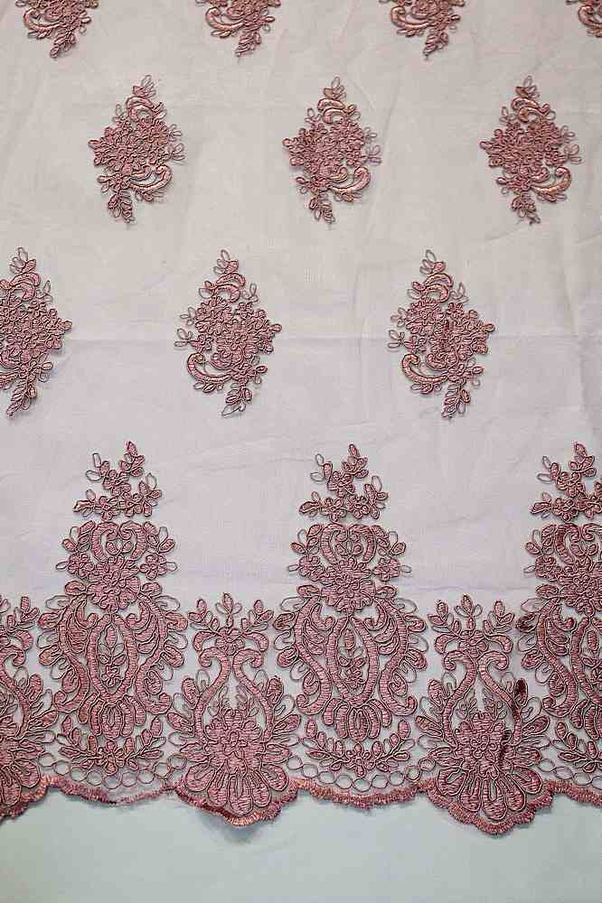 MEMB-111404 / 53.DUSTY ROSE / Mesh With Corded Embroidery