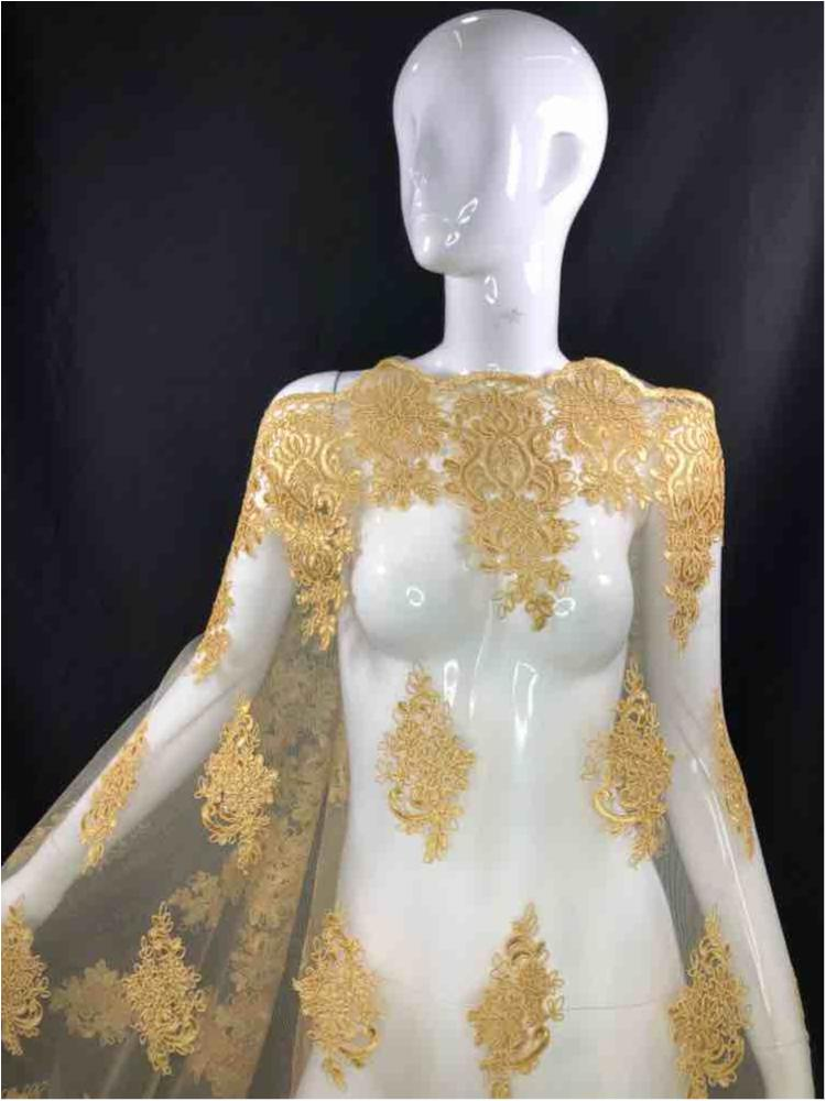 MEMB-111404 / 05.GOLD / Mesh With Corded Embroidery