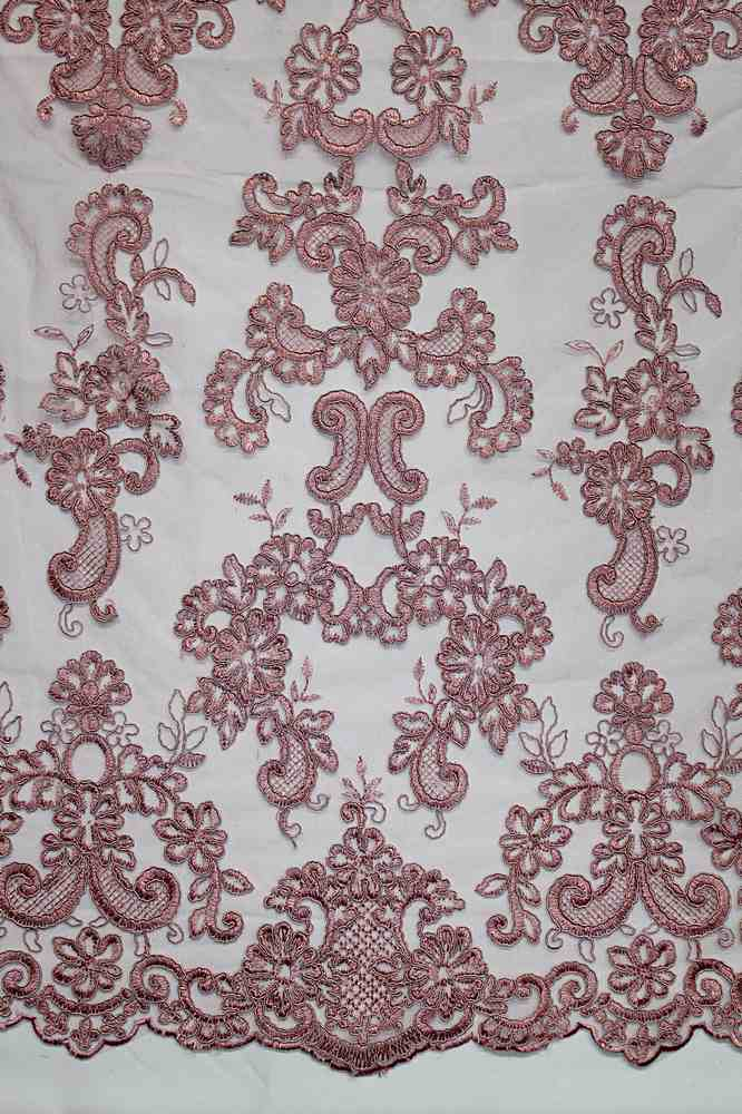 MEMB-111405 / 53.DUSTY ROSE / Mesh With Corded Embroidery