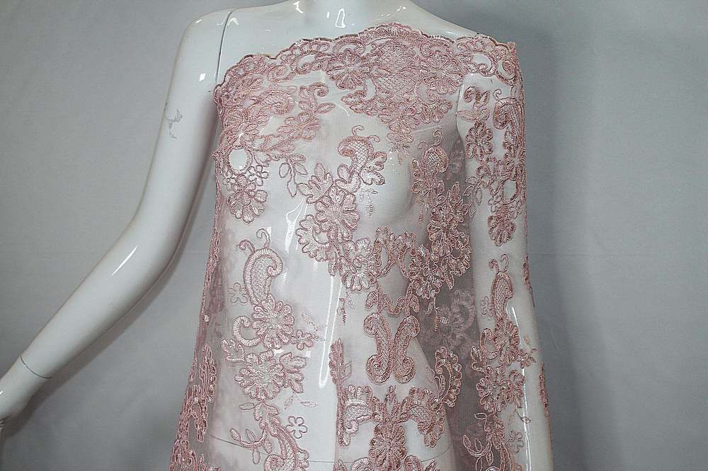 MEMB-111405 / 65.PINK / Mesh With Corded Embroidery