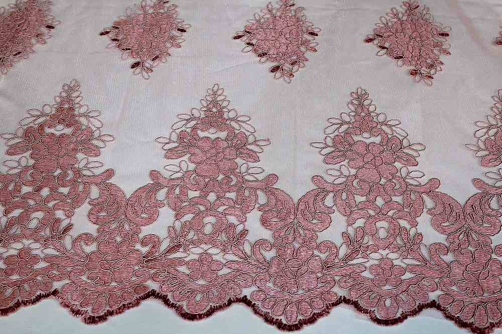 MEMB-111406 / 53.DUSTY ROSE / Mesh With Corded Embroidery