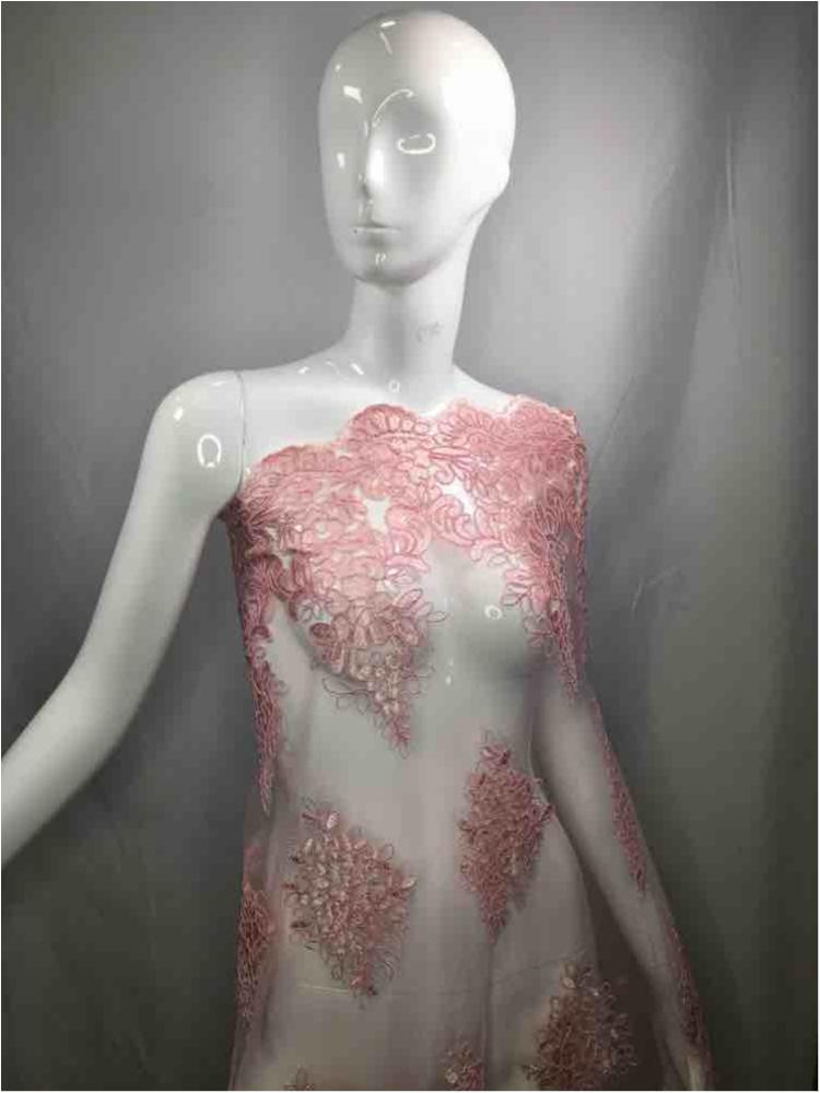 MEMB-111406 / 65.PINK / Mesh With Corded Embroidery