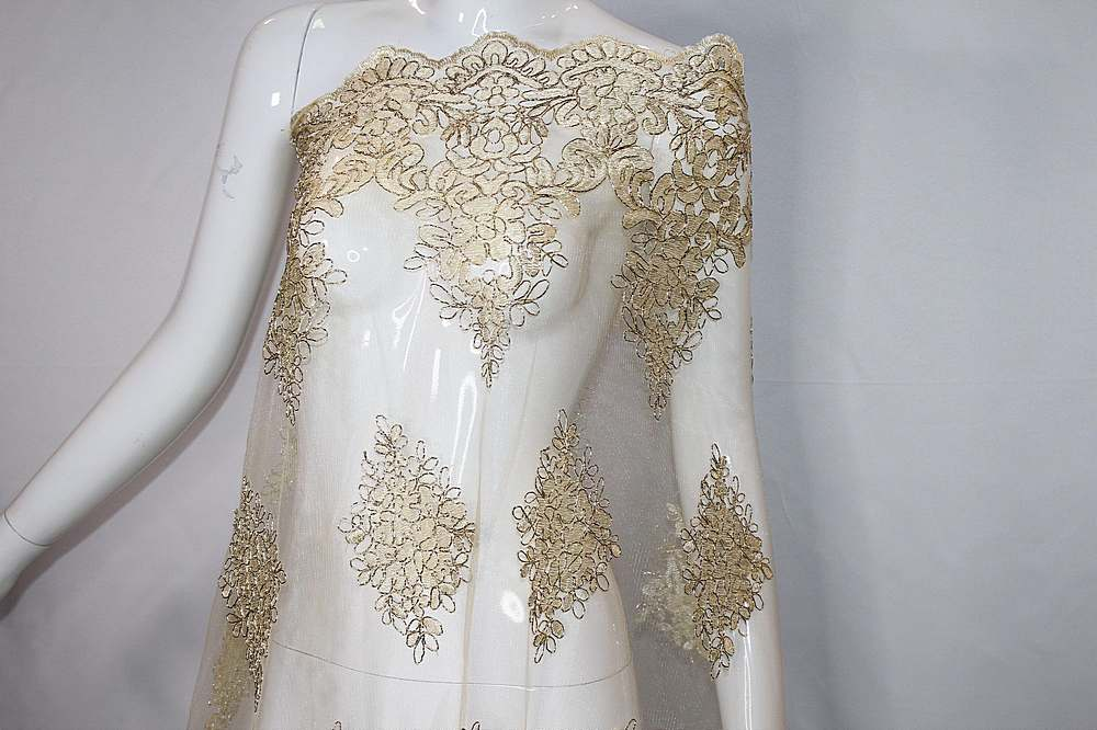 MEMB-111406 / GOLD/METALIC / Mesh With Corded Embroidery