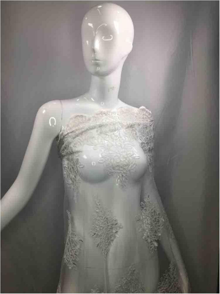 MEMB-111406 / 01.WHITE / Mesh With Corded Embroidery