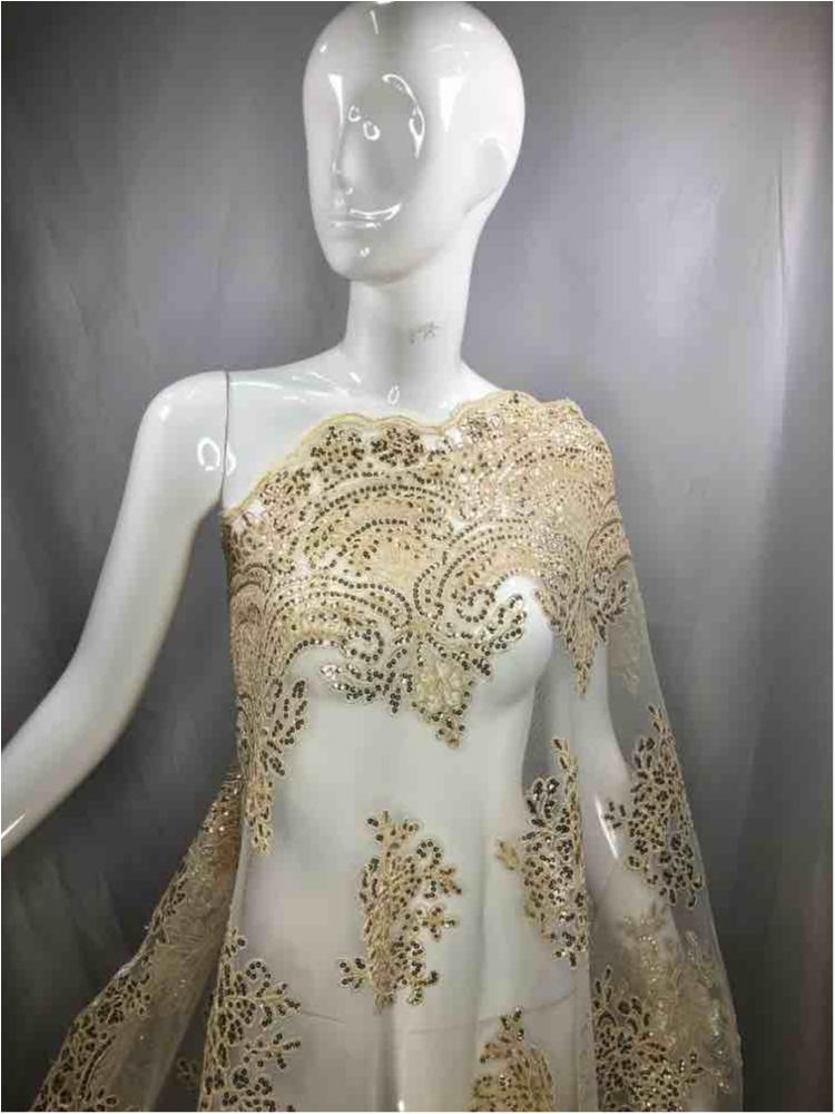 EMB-FA18-34C / 23.CHAMPAGNE / Mesh With Corded Embroidery With Sequins All Over