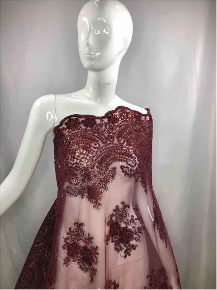 EMB-FA18-34C / 30.BURGUNDY / Mesh With Corded Embroidery With Sequins All Over