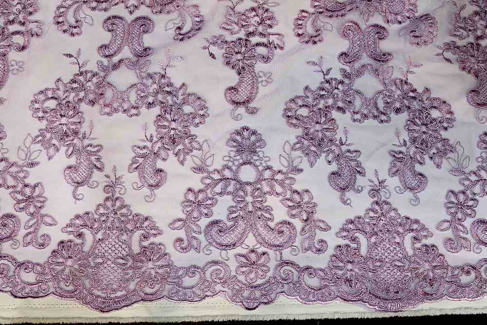 MEMB-111405 / 25.LILAC / Mesh With Corded Embroidery