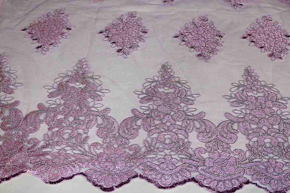 MEMB-111406 / 25.LILAC / Mesh With Corded Embroidery