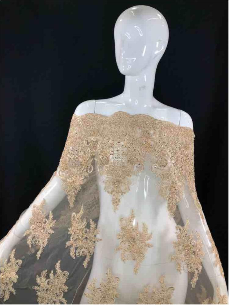HEMB-JH-P18-919 / 27-TAUPE / Mesh With Hand Bead Embroidery All Over