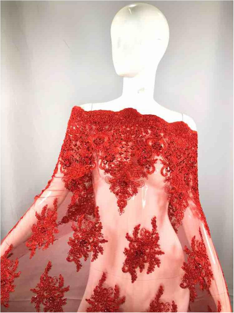 HEMB-JH-P18-919 / 15-RED / Mesh With Hand Bead Embroidery All Over
