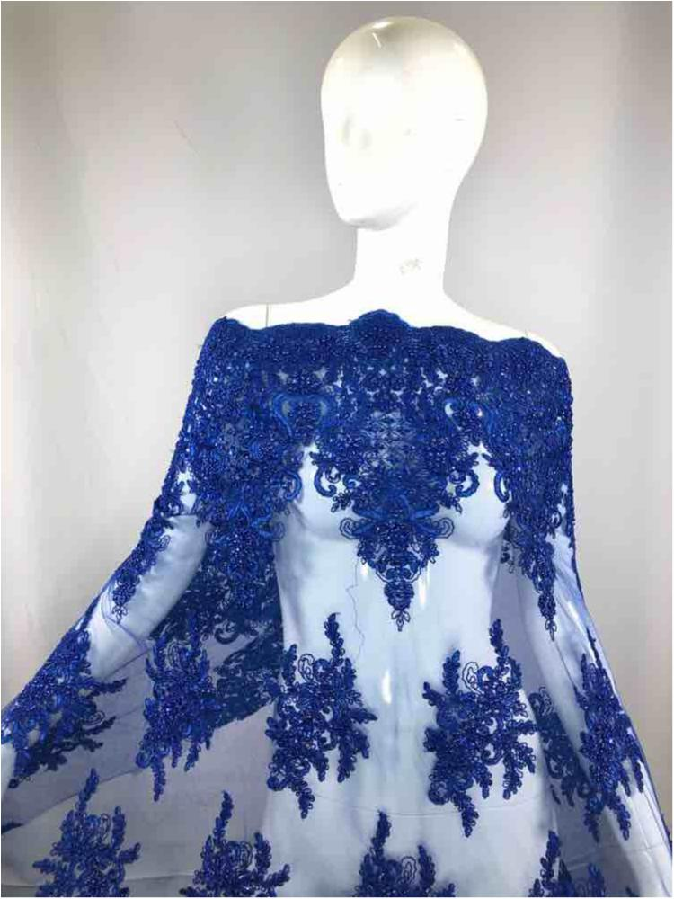 HEMB-JH-P18-919 / 34-ROYAL / Mesh With Hand Bead Embroidery All Over