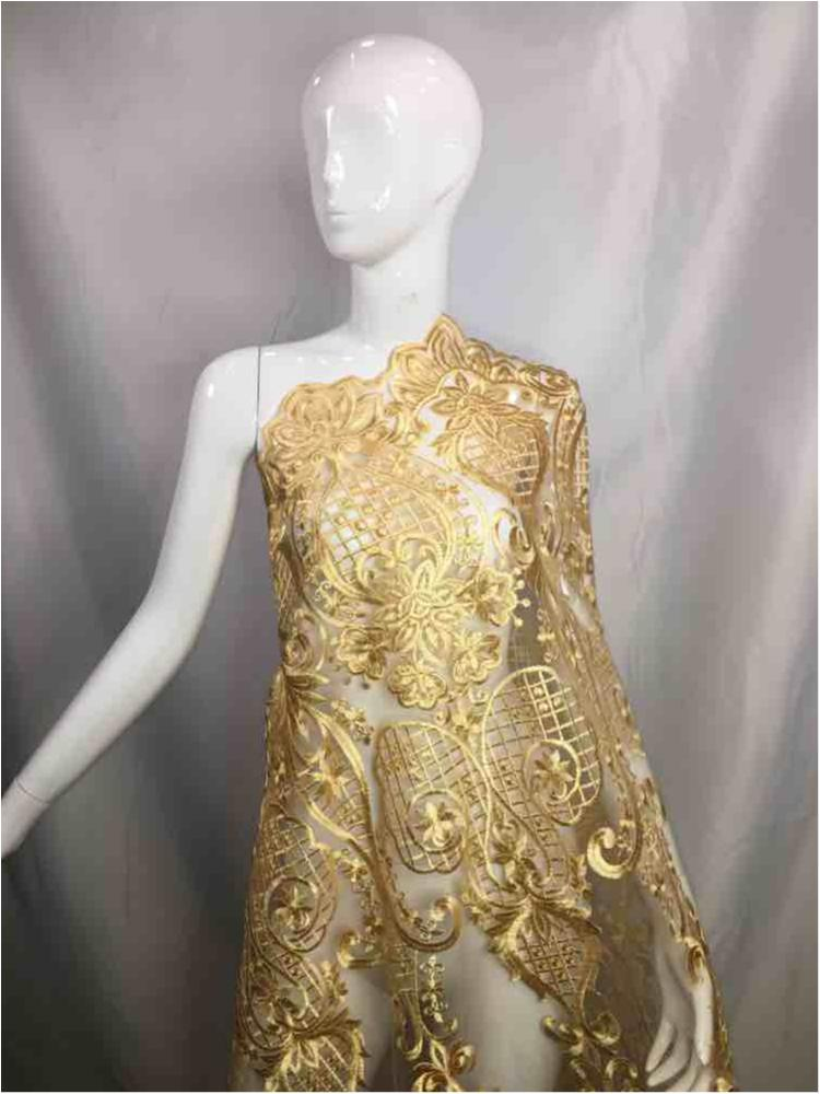 MEMB-5773D1 / 06-GOLD / MESH EMBROIDERY