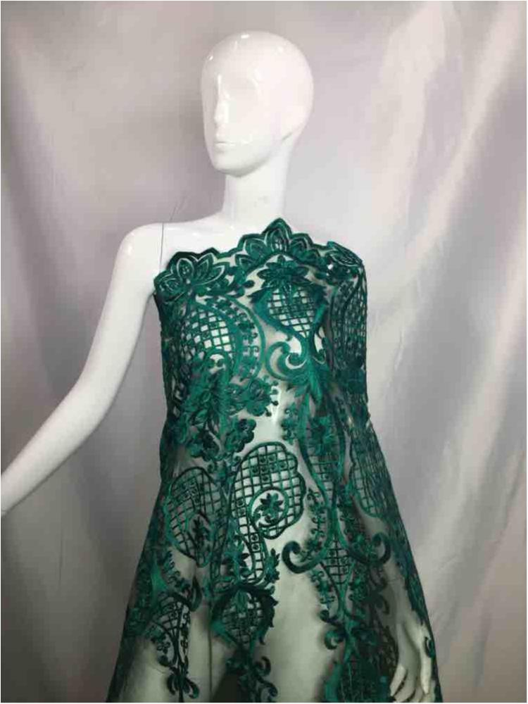 MEMB-5773D1 / 08-HUNTER GREEN / MESH EMBROIDERY