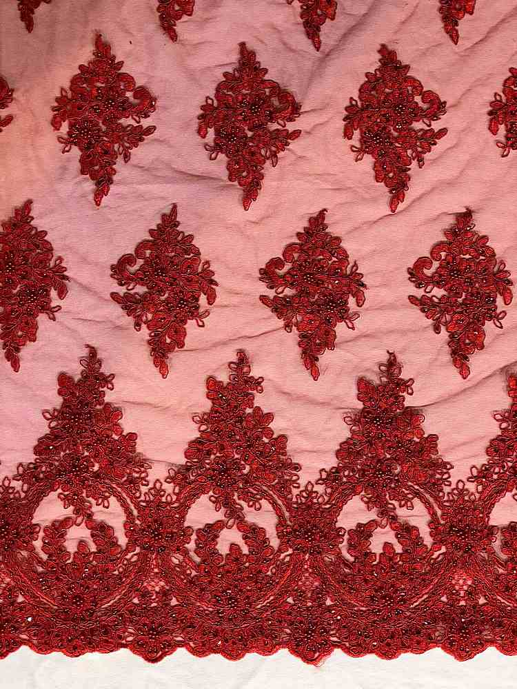 HEMB-FA18-112A / 07-RED / HAND BEAD EMBROIDERY WITH MESH