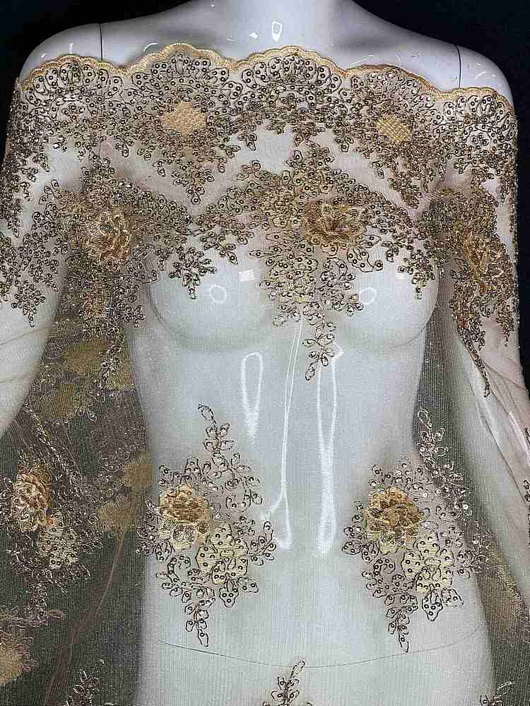 EMB-FA18-149D2 / GOLD METALIC / 3D MESH CORDED EMBROIDERY WITH SEQUINS ALL OVER